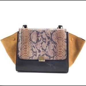 CELINE Medium Trapeze Bag Python Tan Suede